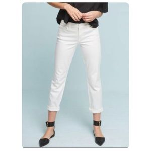Anthropologie White Cropped Jeans